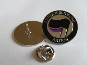 ANTIFASCHISTISCHE AKTION SCHWARZ/LILA PIN