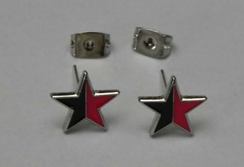 EARRINGS RED/BLACK STAR