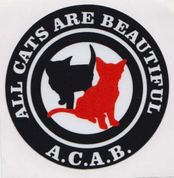 ACAB (ALL CATS ARE BEAUTIFUL) PVC AUFKLEBER