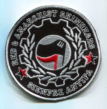 RED & ANARCHIST SKINHEADS SIEMPRE ANTIFA PATCH