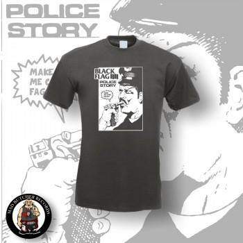 BLACK FLAG POLICE STORY T-SHIRT M / DUNKELGRAU