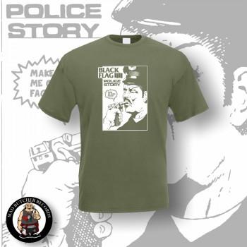 BLACK FLAG POLICE STORY T-SHIRT XL / OLIVE