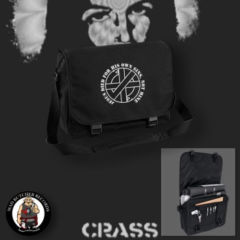 CRASS JESUS DIED FOR HIS OWN SINS MESSENGER BAG Black