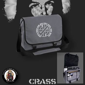 CRASS JESUS DIED FOR HIS OWN SINS MESSENGER BAG grey