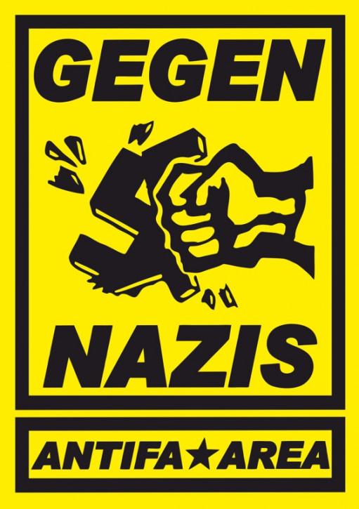 GEGEN NAZIS ANTIFA AREA GELB AUFKLEBER (10 Stück)