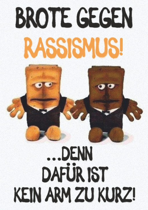 BROTE GEGEN RASSISMUS AUFKLEBER (10 Stück)