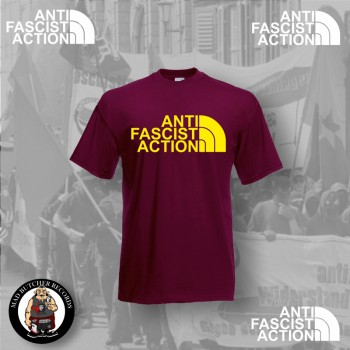 ANTI FASCIST ACTION T-SHIRT RED (FLOCK)