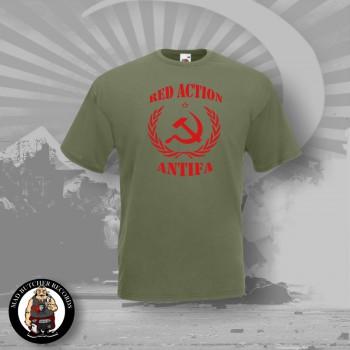 RED ACTION ANTIFA T-SHIRT OLIV