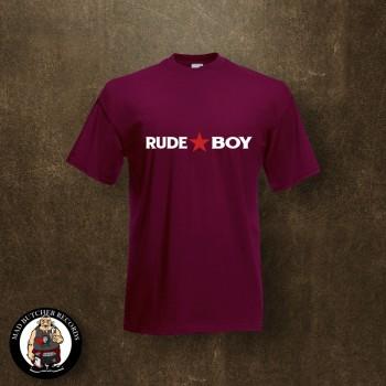RUDE BOY REDSTAR T-SHIRT L / BORDEAUX RED