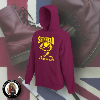SKINHEAD A WAY OF LIFE HOOD M / BORDEAUX RED