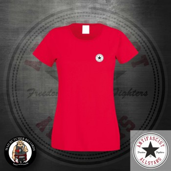 ANTIFASCIST ALLSTARS GIRLIE LOGO SMALL S / red