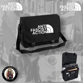 ANTIFASCIST ACTION MESSENGER BAG SCHWARZ / WEISS