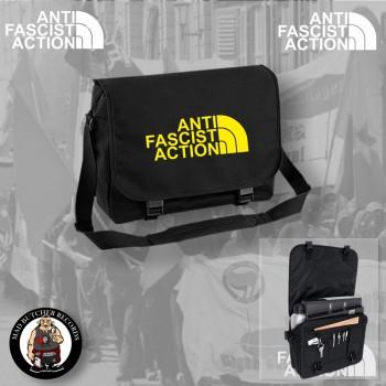 ANTIFASCIST ACTION MESSENGER BAG SCHWARZ / GELB