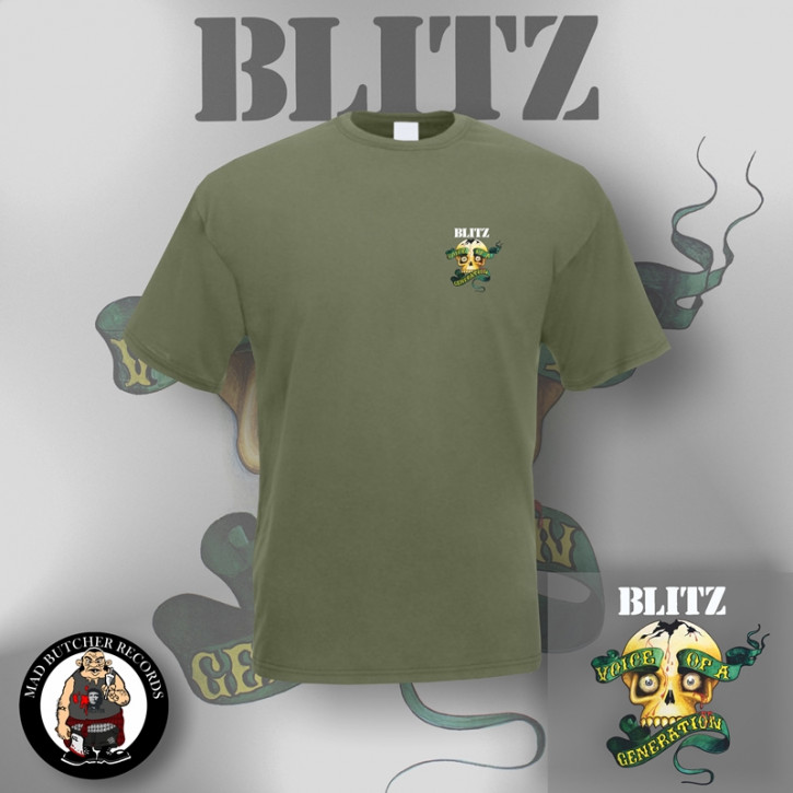 BLITZ VOICE OF A GENERATION SMALL T-SHIRT S / OLIVE