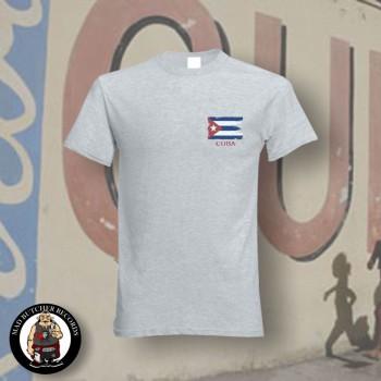 CUBA FLAG T-SHIRT L / GRAU