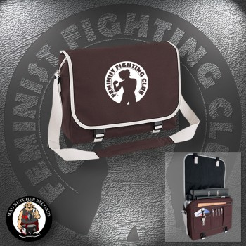 FEMINIST FIGHTING CLUB MESSENGER BAG brown