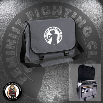FEMINIST FIGHTING CLUB MESSENGER BAG grey