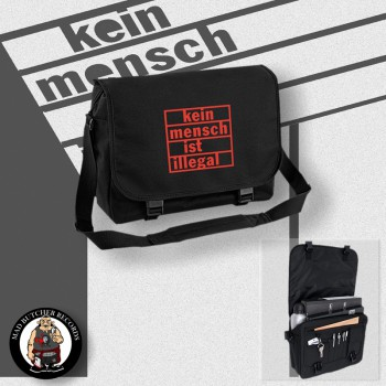 KEIN MENSCH IST ILLEGAL MESSENGER BAG Black / RED