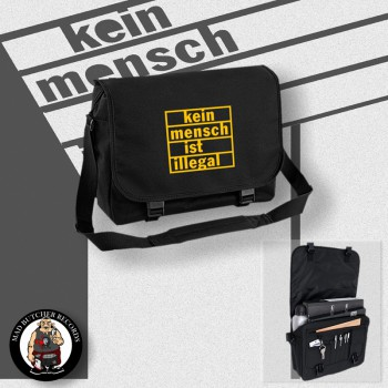 KEIN MENSCH IST ILLEGAL MESSENGER BAG Black / YELLOW