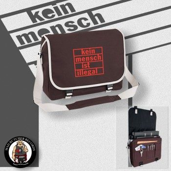 KEIN MENSCH IST ILLEGAL MESSENGER BAG brown / RED