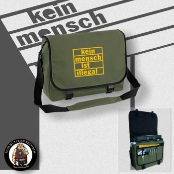KEIN MENSCH IST ILLEGAL MESSENGER BAG OLIVE / YELLOW