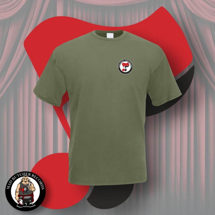 LOVE MUSIC HATE FASCISM NOTE T-SHIRT M / OLIVE