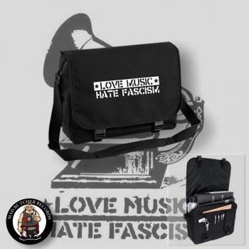 LOVE MUSIC HATE FASCISM MESSENGER BAG Black / WHITE