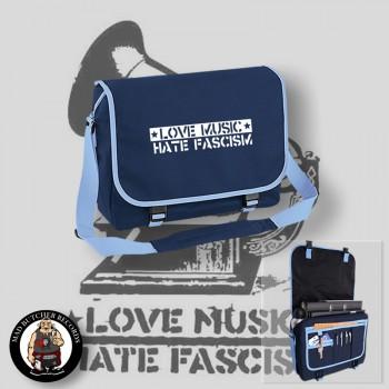 LOVE MUSIC HATE FASCISM MESSENGER BAG blue / WHITE