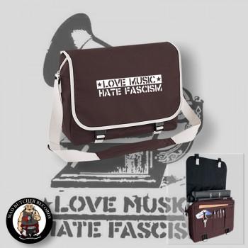 LOVE MUSIC HATE FASCISM MESSENGER BAG brown / WHITE