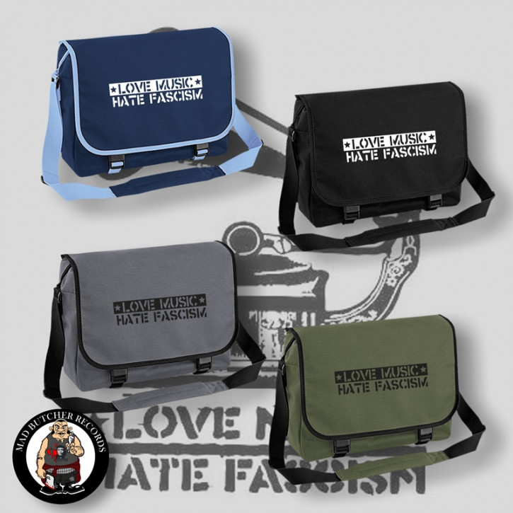 LOVE MUSIC HATE FASCISM MESSENGER BAG