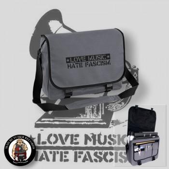 LOVE MUSIC HATE FASCISM MESSENGER BAG grey / BLACK