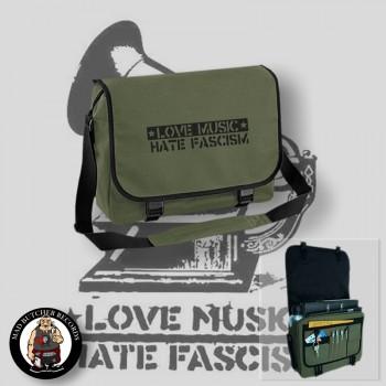 LOVE MUSIC HATE FASCISM MESSENGER BAG OLIVE / BLACK
