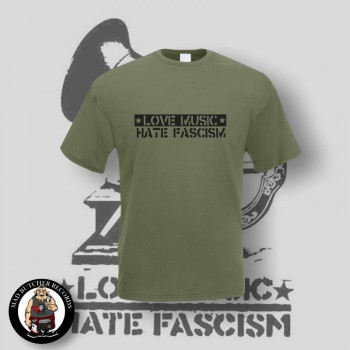 LOVE MUSIC HATE FASCISM T-SHIRT XL / OLIVE