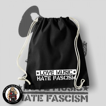 LOVE MUSIC HATE FASCISM GYM SAC
