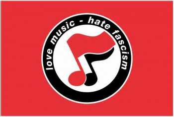 LOVE MUSIC HATE FASCISM FLAG