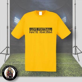 LOVE FOOTBALL HATE RACISM T-SHIRT XL / GELB