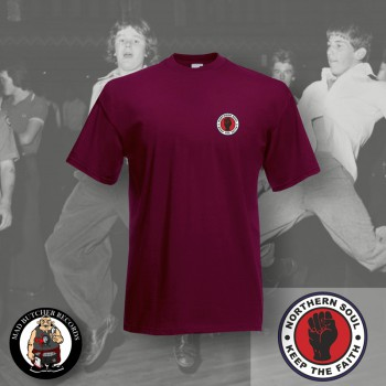 NORTHERN SOUL LOGO SMALL T-SHIRT S / BORDEAUX RED