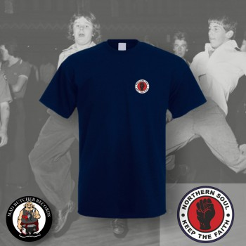 NORTHERN SOUL LOGO SMALL T-SHIRT M / NAVY