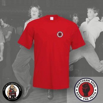 NORTHERN SOUL LOGO SMALL T-SHIRT L / red