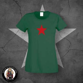 GIRLIE RED STAR M / BOTTLEGREEN
