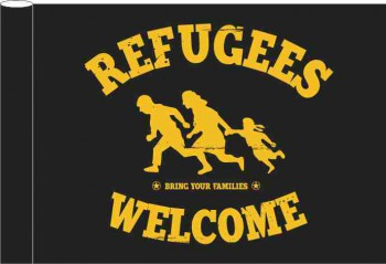 REFUGEES WELCOME BLACK FLAG