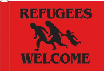 REFUGEES WELCOME RED FLAGGE