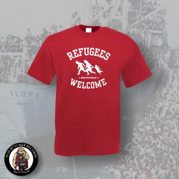 REFUGEES WELCOME T-SHIRT L / BORDEAUX ROT