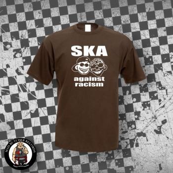 SKA AGAINST RACISM T-SHIRT S / BRAUN