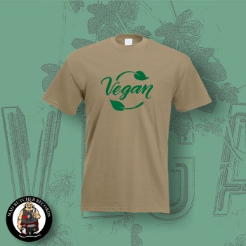 VEGAN LEAF T-SHIRT M / BEIGE