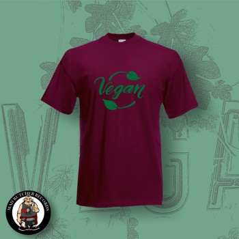 VEGAN LEAF T-SHIRT S / BORDEAUX RED