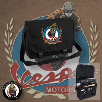 VESPA MOTORSPORT VINTAGE MESSENGER BAG Black