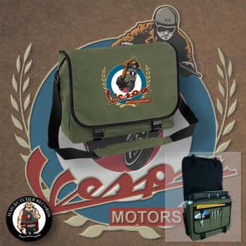 VESPA MOTORSPORT VINTAGE MESSENGER BAG OLIVE