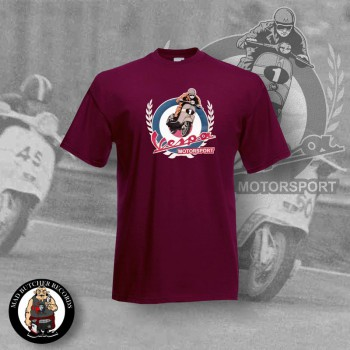 VESPA MOTORSPORT VINTAGE T-SHIRT XL / BORDEAUX ROT