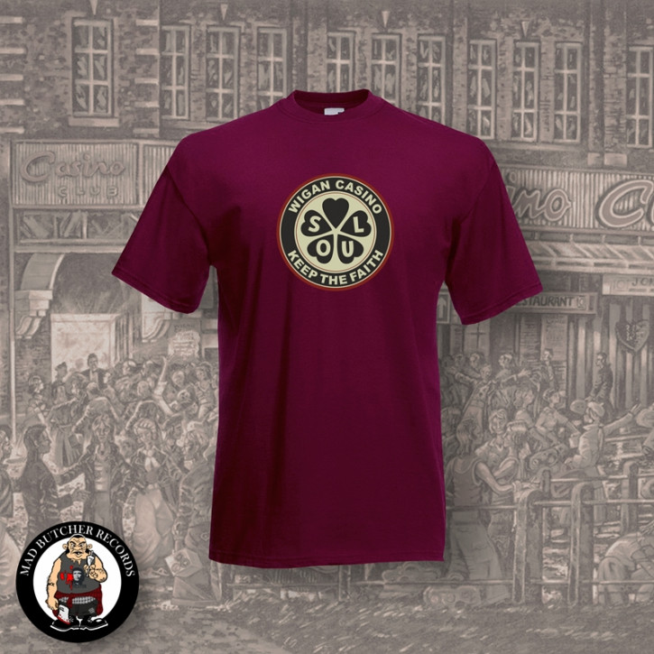 WIGAN CASINO T-SHIRT M / BORDEAUX ROT